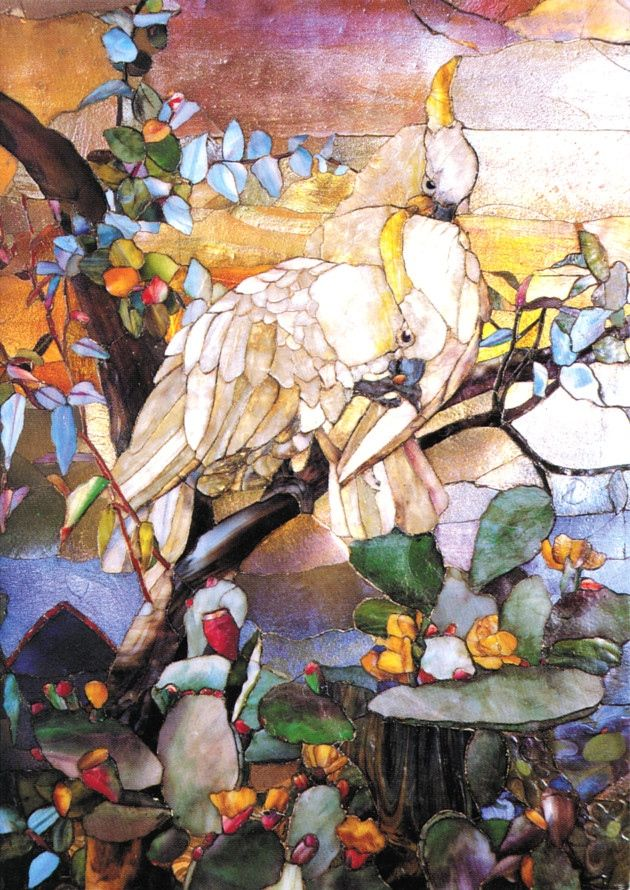 Sulphur Crested Cockatoo Mosaic  by Joseph Briggs Lancashire Lad  Great Story samplerhttp://www.lancashirelife.co.uk/out-about/joseph_briggs_the_accrington_link_to_the_world_famous_tiffany_glass_1_4171953