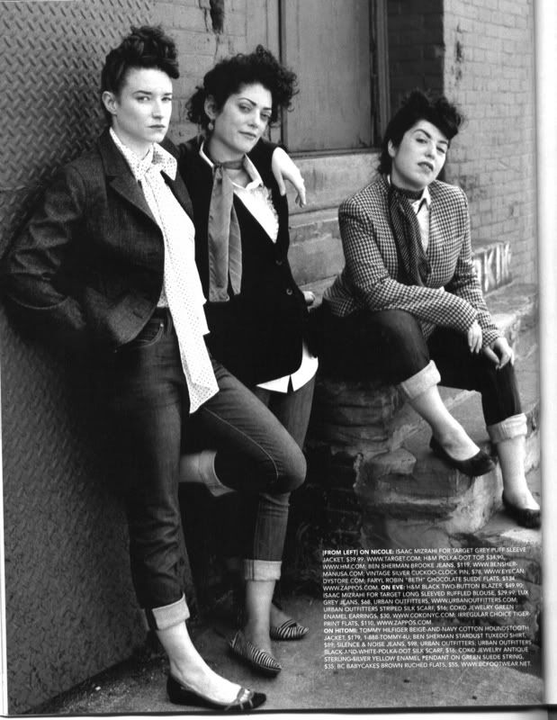 teddy girls - british style, created by working class working people / adopted mens wear that had an Edwardian flavor: longer jackets