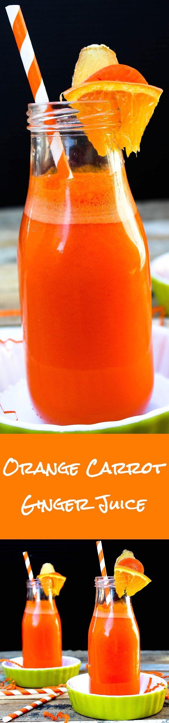 Orange Carrot Ginger Juice - http://veganhuggs.com/orange-drank/