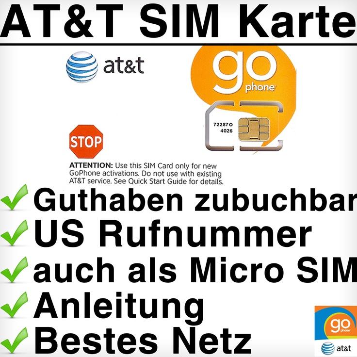 AT USA SIM Karte    - Eine Auswahl aus 4 Prepaid-Tarifen  - Örtliche USA-Telefonnummer  - Beste Netzabdeckung in den USA (#1 GSM Netz)  - Keine Bonitätsprüfung oder Verträge  - Guthaben direkt über uns zubuchbar  - Neuste Version der AT SIM Karte  - inklusive Schritt für Schritt Anleitung    mehr unter:  http://www.travelsimple.de/sim-karten/usa/192/att-sim-karte