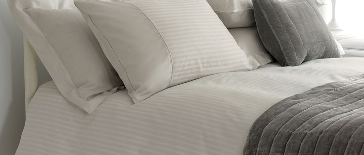 Shalford Satin Stripe Dove Grey Cotton Duvet Cover at Laura Ashley