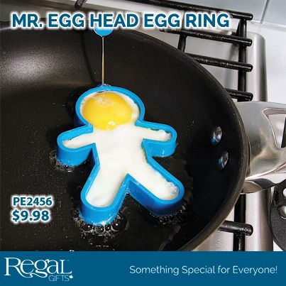 """MR. EGG HEAD EGG RING  Create your very own egg man with this silicone egg ring. Simply crack your egg into the ring and tilt so the yolk flows into the head. The handle allows the egg ring to be removed easily once the egg is cooked. 5""""L x 3-1/2""""W"""