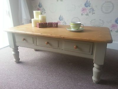 Vintage Farmhouse Solid Pine Shabby Chic Coffee Table With 3 Drawers In Coffee Tables Ebay