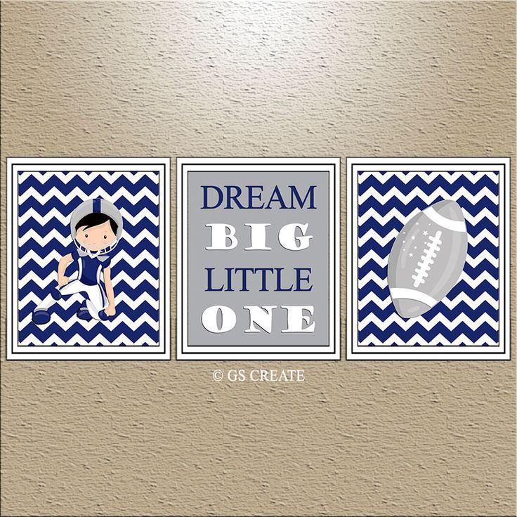 Baby Boy FOOTBALL SPORTS Wall Art Dallas Cowboys Bedroom wall art Boy Nursery wall art TEAM Navy Blue Gray Personalized 3 Prints set/ Canvas by GScreate on Etsy https://www.etsy.com/listing/231507483/baby-boy-football-sports-wall-art-dallas