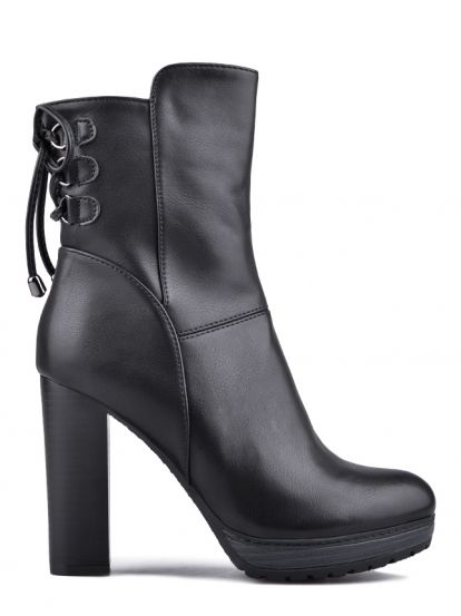 Dámské kotníkové boty na podpatku TENDENZ - černá