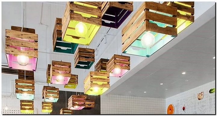 Look at these awesome and jaw dropping beautiful suspended wood crate lamps. Its really cute, creative and awesome. You can leave the outside plain and paint the inside with your favorite colors or the ones matching your interior. Suspend them on your ceiling and you will get a perfect rustic impact.