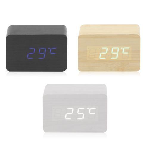 LED-Digital-Wecker-Thermometer-Holz-Alarm-Tischuhr-Uhren-Kalender-Datum-2018-Neu