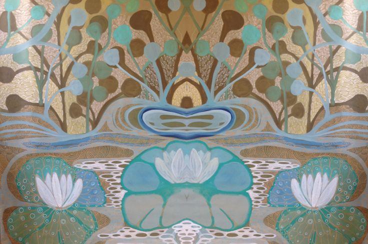 Mural sobre papel pintado tejido, diseñado y realizado a mano alzada por Izaskun Alonso Saratxaga para LA JIRAFA PROYECTOS ARTISTICOS SL.