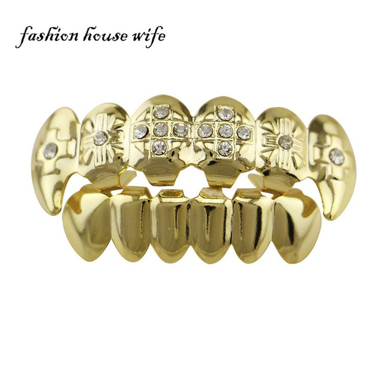 Fashion House Wife Fashion Jewelry Cross Rhinestone Grillz Top Bottom Teeth Sets Silver Gold Grillz Teeth Caps 1sets/pack NL0004
