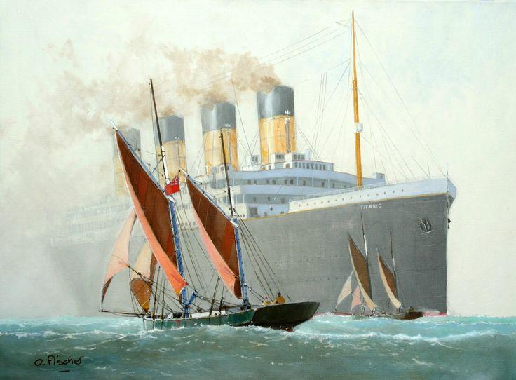 "RMS ""Titanic"" with Brixham trawler - huile"