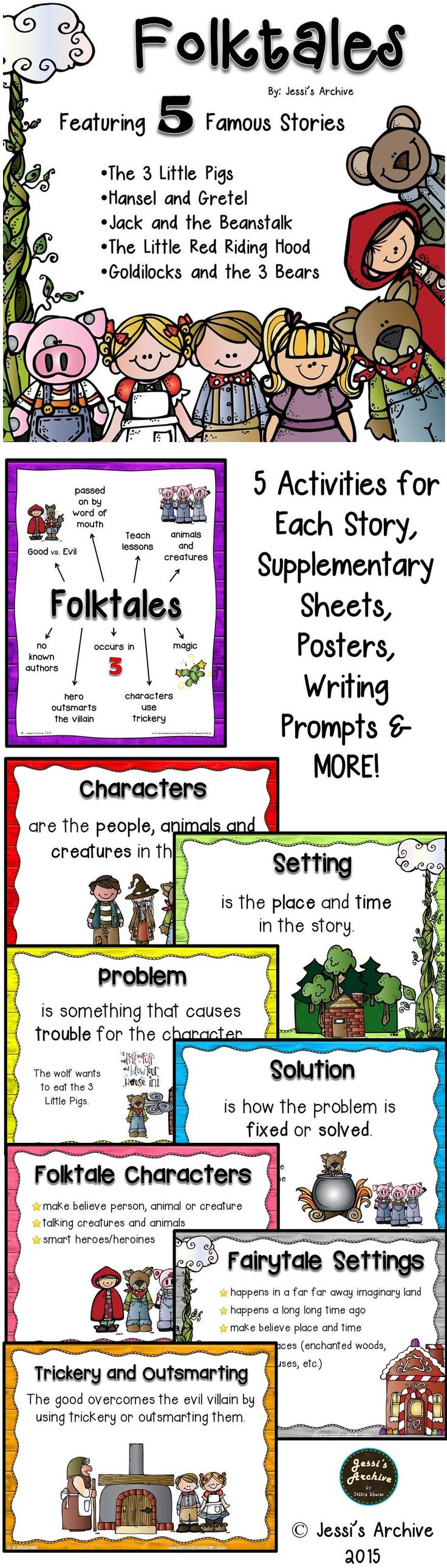 FOLKTALES: A Fantasy Unit: 90 pages - This pack will help your class have a magical folktales unit. Composed of supplementary posters, activity sheets, idea cards, booklets, graphic organizers and more!