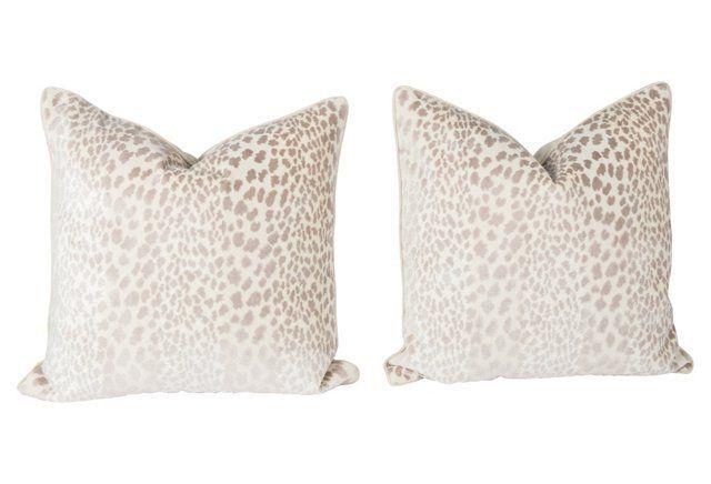 Velvet Spotted Cheetah Pillows, Pair