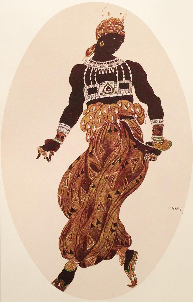 "Costume of the ""golden"". Sketch.  Эскиз костюма ""золотого"" негра."