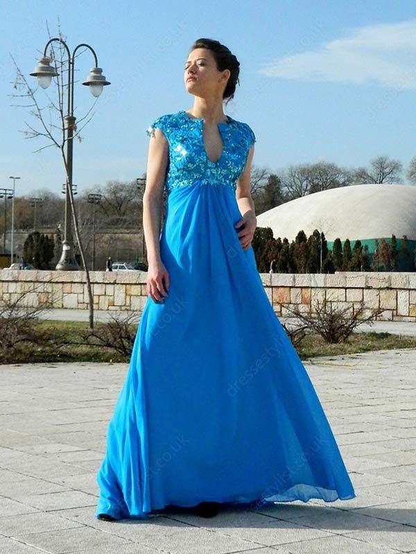 Blue Appliques Prom Dress Shop uk