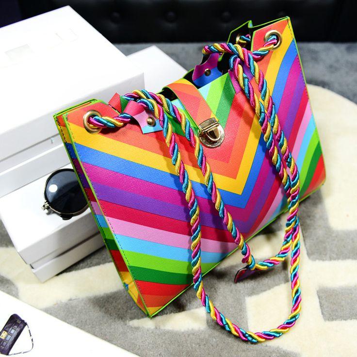 Encontrar Más Top-Handle Bags Información acerca de Mujer de rayas del arco iris ondulado mensajero bolsas para mujeres moda PU bolsos de hombro de cuero ColorfulRainbow correas cuerda aleta, alta calidad Top-Handle Bags de Spring Trading Co., Ltd. (offer Drop Shipping) en Aliexpress.com