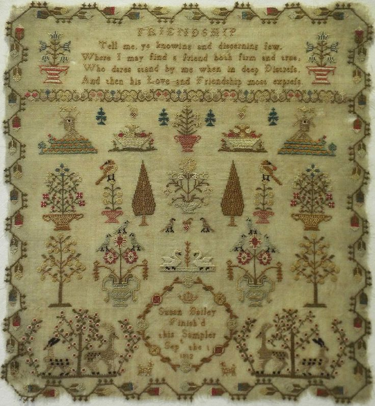 "EARLY 19TH CENTURY ""FRIENDSHIP"" VERSE &  MOTIF SAMPLER BY SUSAN BAILEY - 1812"