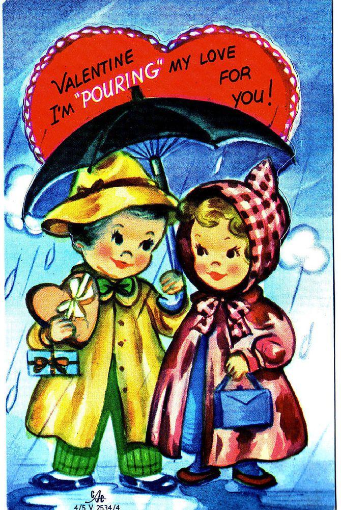 Toll Vintage Boy U0026 Girl In The Rain Under An Umbrella Valentine