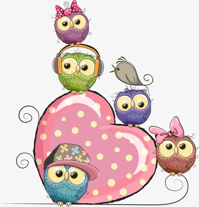 Vector Pink Hearts And Owls, Pink Heart, Owl, Cartoon Owl PNG Transparent Clipart Image and PSD File for Free Download