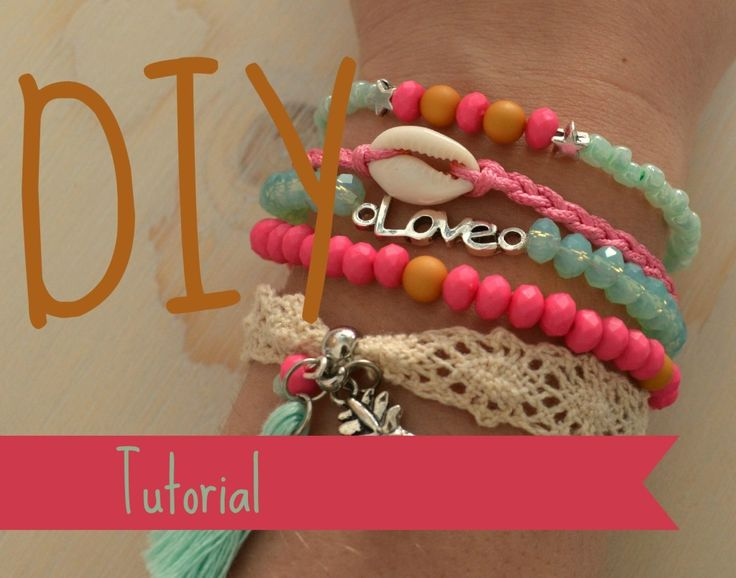 Step by Step DIY Tutorial - Make your own Ibiza Bracelet - Handmade jewelry, summer style, shell, lace, tassel, mintgreen and pink