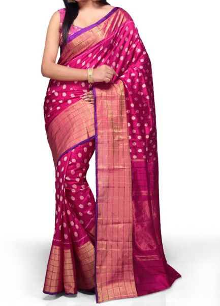 ikat mejenta pinc color saree