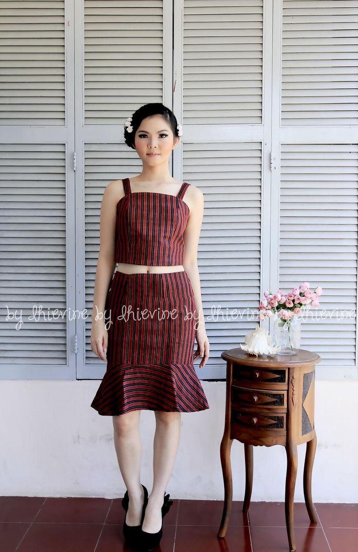 Lurik Skirt | Lurik Bustier | Flounced Skirt | Purwakanti Red Set ( Top and Skirt ) | DhieVine | Redefine You