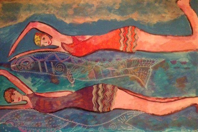 schilderij zwemmers