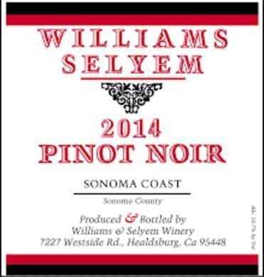 2014 Williams Selyem Pinot Noir Sonoma Coast