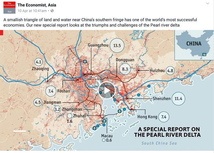 Screen grab from The Economist Asia on Facebook.11 Cities in Pearl River Delta with 65 m people,economy $1,2tn, a mightier force than all Japan.