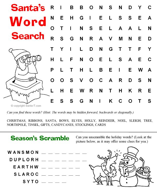 Santas Word Scramble Christmas Coloring Page Find This Pin And More On Printable Activity