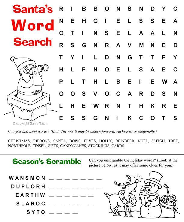 Santas Word Scramble Christmas Coloring Page