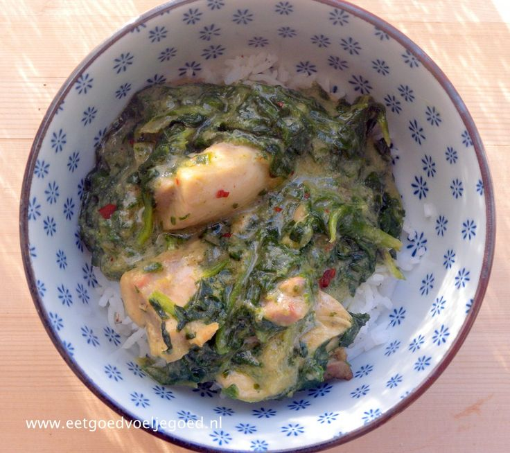 Kruidige kip in een romige groene curry kokossaus met spinazie. Gegarandeerd een nieuw familie favoriet! Serveer met basmati rijst.