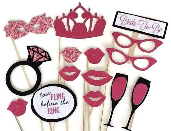 Bachelorette Photobooth- Last Fling Before The Ring - Glitter Photobooth Props - 15 piece set - Wedding Photo Booth