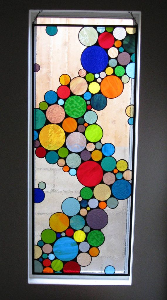 Large Contemporary Stained Glass Bubble Window by terrazaglass, $600.00
