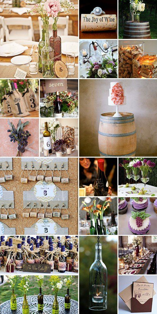 Love the wine barrel cake stand and wine bottle centerpieces