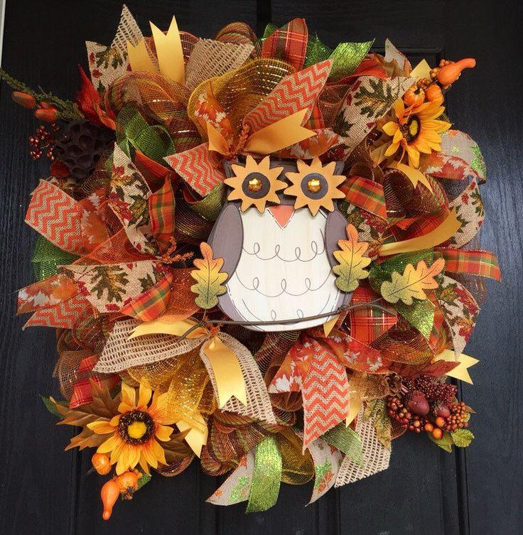 Owl Mesh wreath, Fall Owl Mesh Wreath, Fall Deco Mesh Wreath, Fall Mesh Wreath, Autumn Mesh Wreath, Front door Wreath, Fall wreath for front - pinned by pin4etsy.com