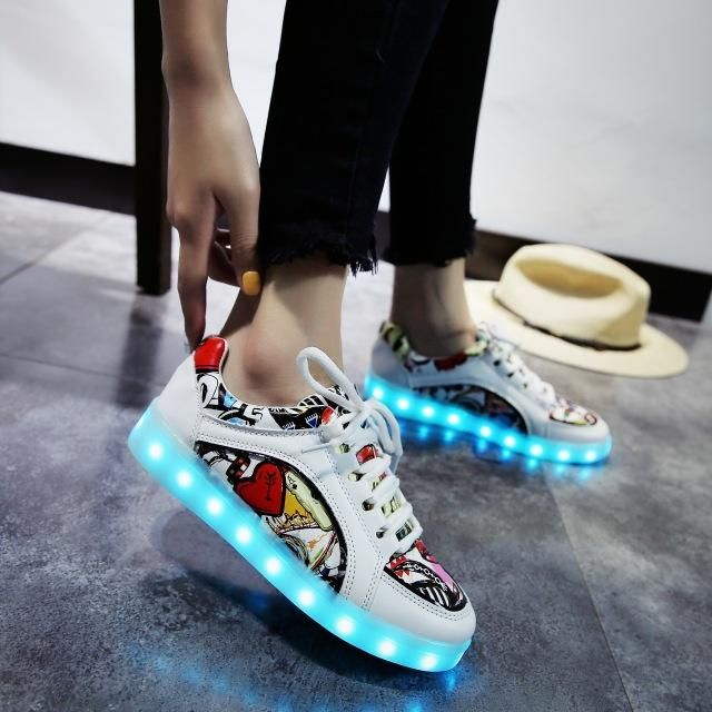 Cool Unisex Glowing Sneakers with Popular Patterns!