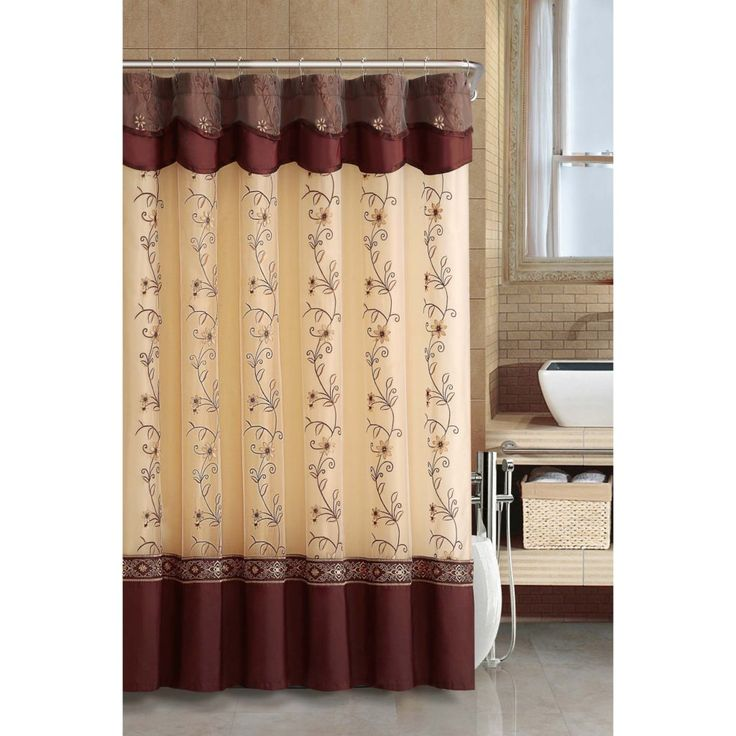 Marvelous Elegant Shower Curtains Attached Valance