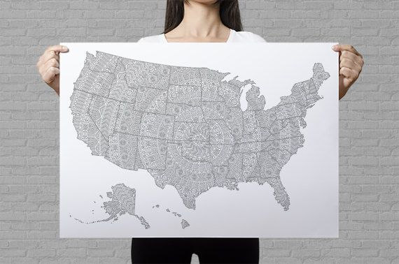 USA mandala coloring map - travel map of United States - folklore pattern art print - Etsy sales map of US - abstract patterns coloring page by AnnaGrundulsDesign