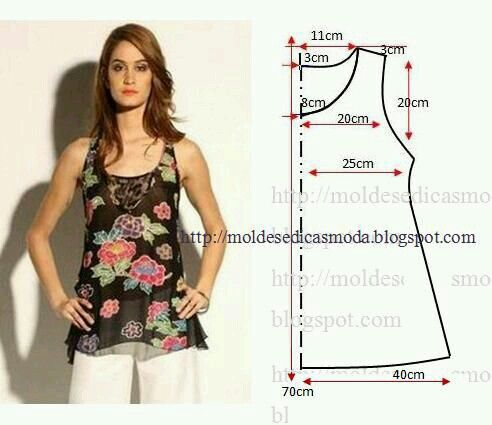 Blusa ou vestido conforme o tamanho desde a cintura para a bainha.