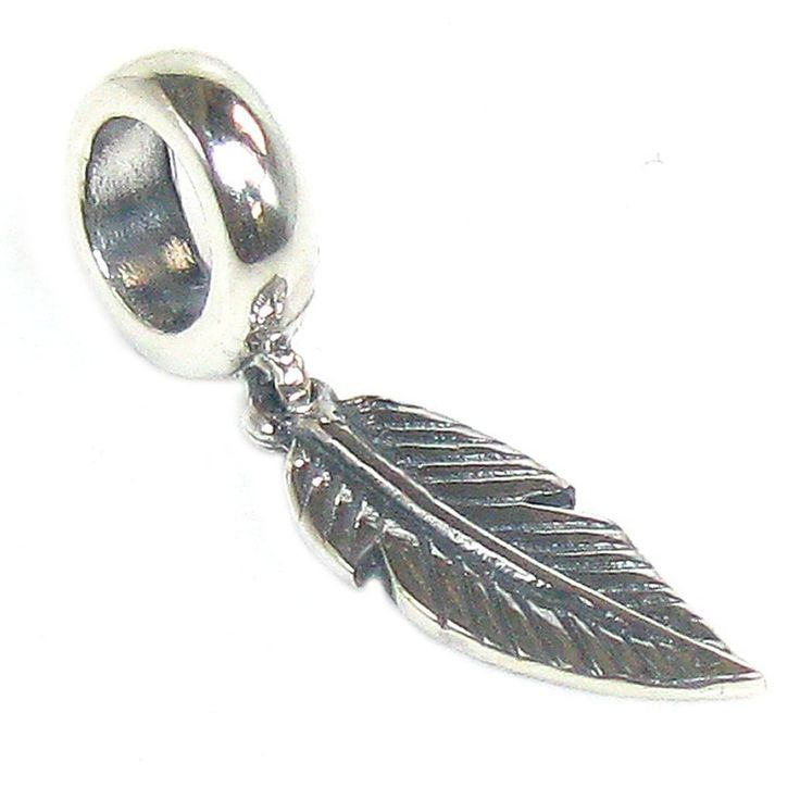 Queenberry Sterling Silver Angel Feather Dangle Bead For European Charm Bracelets: Amazon.co.uk: Jewellery