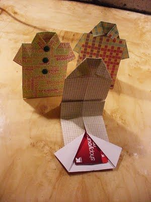 """handmade gift card holder ... origami shirt fold ... clever way to deliver a Father's Day or anytime """"masculine"""" gift card ..."""