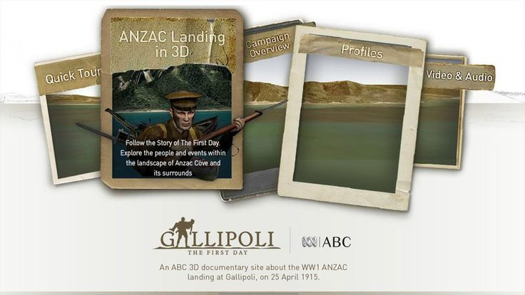 An ABC 3D documentary site about the WW1 ANZAC landing at Gallipoli, on 25 April 1915. Available through Splash!