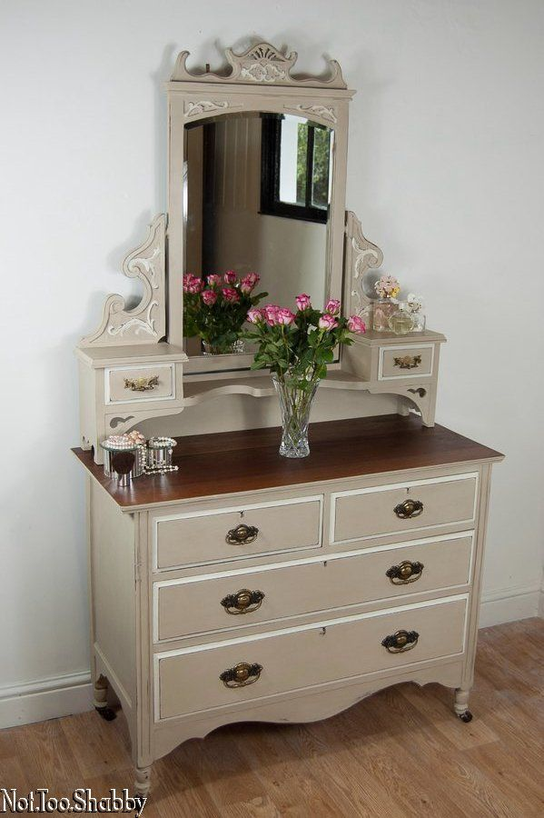 Gorgeous antique Edwardian dressing table/ chest Hand painted Shabby Chic