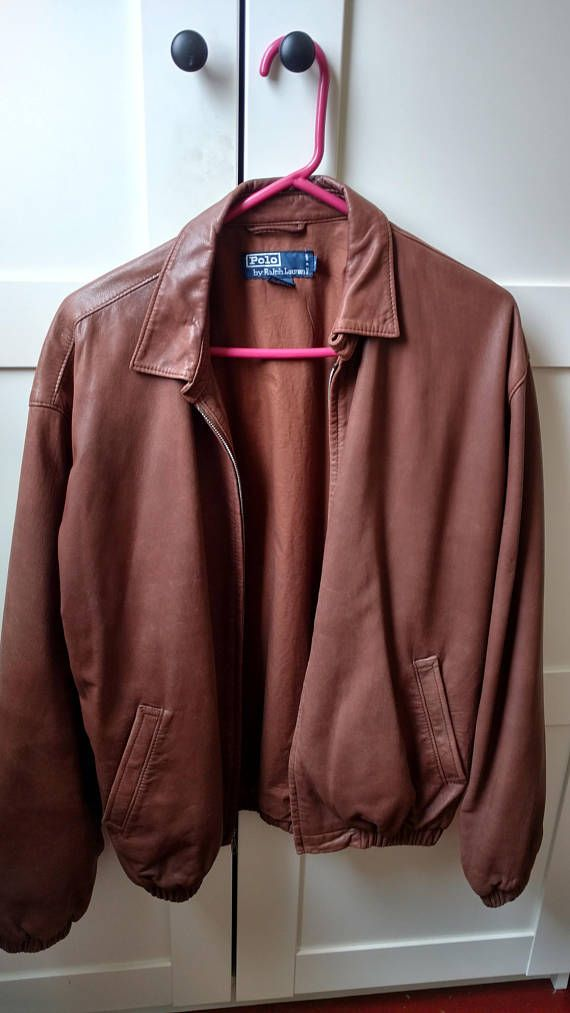 Beautiful Vintage Polo by Ralph Lauren brown lambskin leather jacket, Men's small