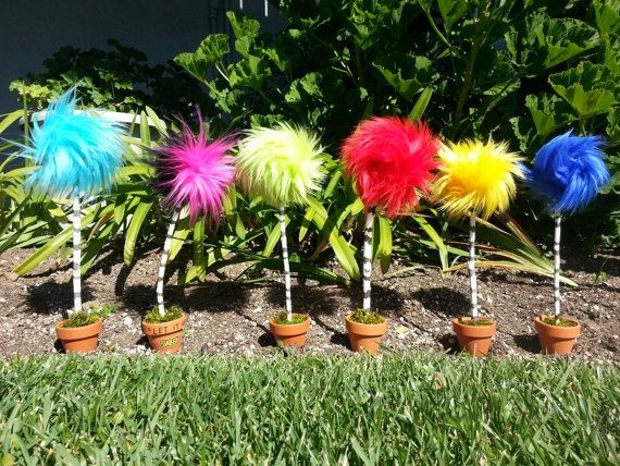dr seuss trees | Dr. Seuss The Lorax Truffula Tree - EASY! pot, dirt(?), moss, painted ...