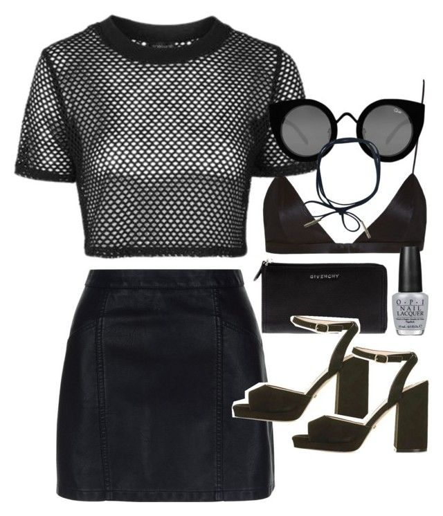 """""""Outfit with a mesh top for a party"""" by ferned on Polyvore featuring New Look, NYX, Topshop, Quay, Givenchy and OPI"""