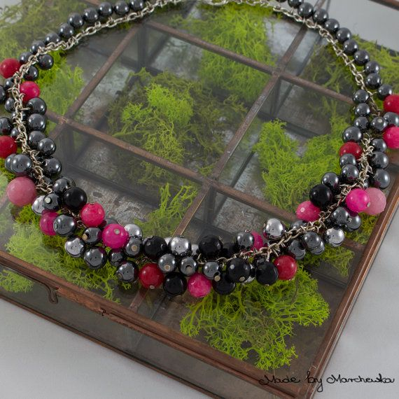 Elegant beaded necklace made with black and by MadeByMarchewka