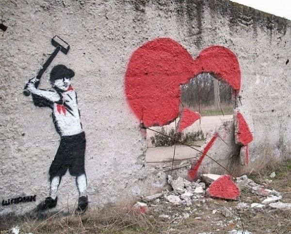 broken heart street art by Sharik