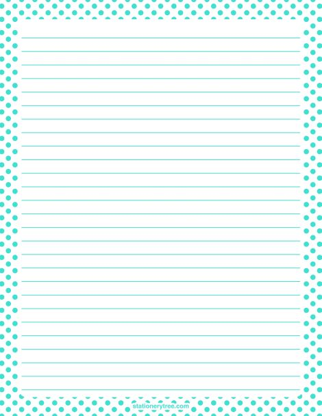Printable turquoise polka dot stationery and writing paper. Multiple versions available with or without lines. Free PDF downloads at http://stationerytree.com/download/turquoise-polka-dot-stationery/