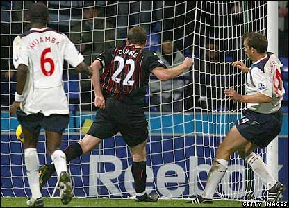 Bolton 2 Man City 0 in Nov 2008 at the Reebok Stadium. With seconds to go Richard Dunne scores a own goal. 2-0 Bolton #Prem